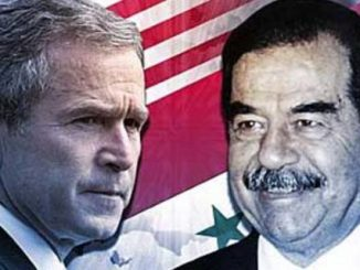 George Bush et Saddam Hussein